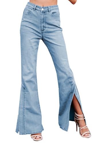 Sky Blue Wide Leg Split Hemline Flared Jeans LC783082-4