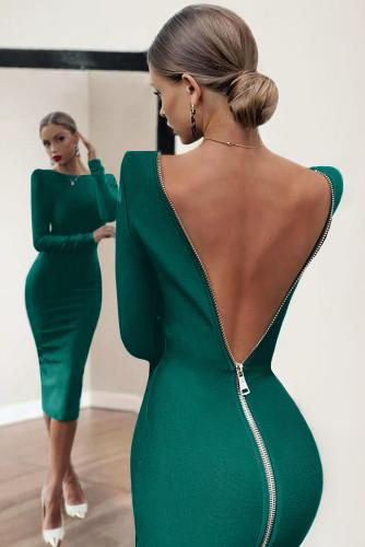 Green Long Sleeve Zip Open Back Pencil Bodycon Midi Dress LC617987-9