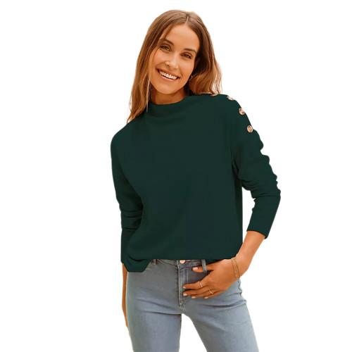 Dark Green Buttons Shoulder Long Sleeve Top TQK210837-36