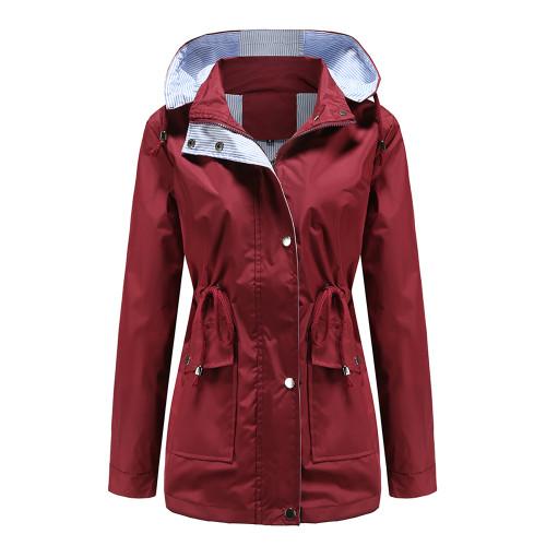 Wine Red Hooded Detachable Windproof Plus Size Windbreaker TQK280123-23