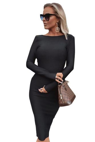 Black Long Sleeve Zip Open Back Pencil Bodycon Midi Dress LC617987-2