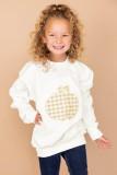 White Plaid Pumpkin Print Girls Pullover Sweatshirt TZ25669-1