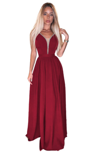 Red Rhinestone Side Split Deep V Neck Maxi Dress LC617470-3