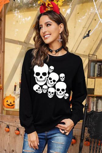 Ghosts Halloween Print Drop Shoulder Black Sweatshirt LC2539638-2