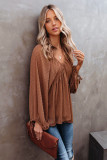 Brown Swiss Dot Lace-up V Neck Long Sleeve Top LC2513362-17