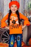 Halloween The Boo Crew Long Ruffle Sleeve Girls Top TZ25657-14