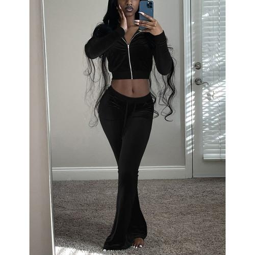 Black Velvet Zipper Crop Jacket with Bell-bottomed Pants Set TQK710413-2