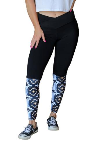 Black Crossover High Waist Aztec Print Patchwork Yoga Leggings LC263986-2