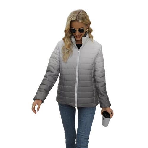 Gray Ombre Stand Collar Zipper Coat with Pocket TQK280118-11