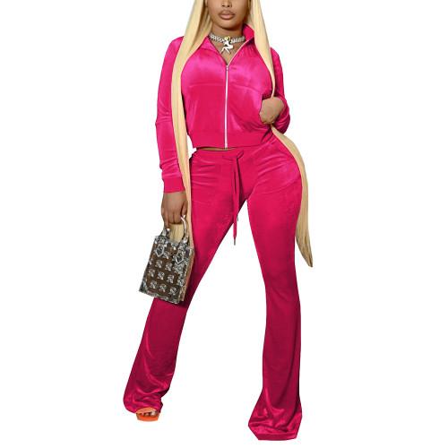 Rosy Velvet Zipper Crop Jacket with Bell-bottomed Pants Set TQK710413-6