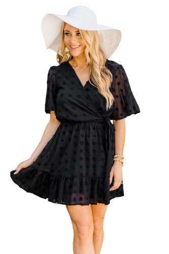 Black Wrap V Neck Swiss Dot Mini Dress with Ruffles LC224826-2