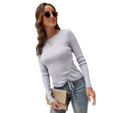 Solid Gray Knitted Drawstring Long Sleeve Sweater TQK271318-11