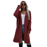 Solid Wine Red Open Front Knitted Long Cardigan TQK271242-23