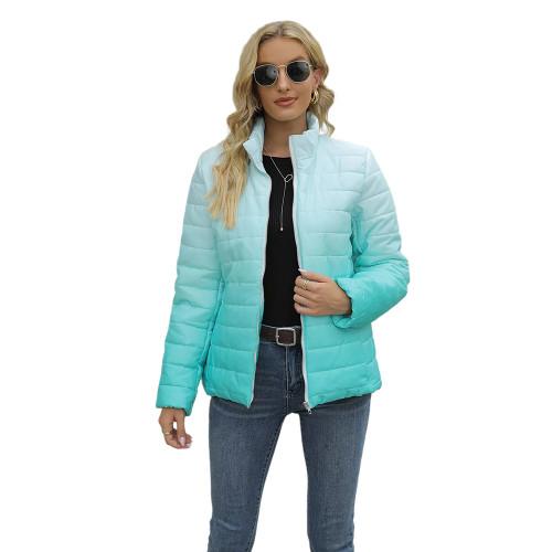 Aquamarine Ombre Stand Collar Zipper Coat with Pocket TQK280118-45