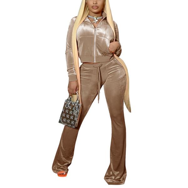 Khaki Velvet Zipper Crop Jacket with Bell-bottomed Pants Set TQK710413-21