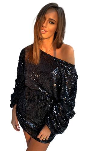 Black Long Sleeves Sequin Mini Dress LC229576-2