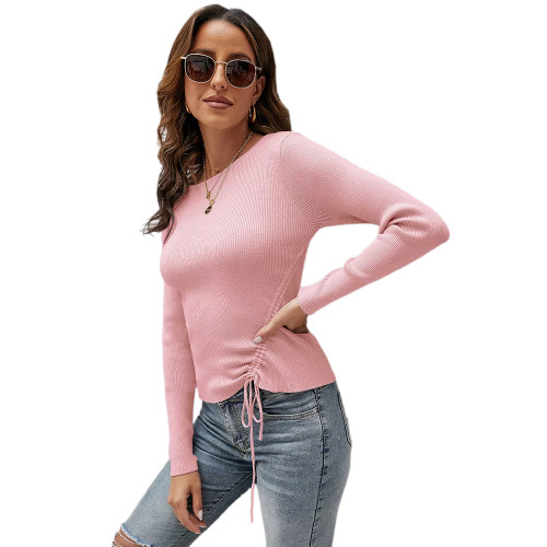 Solid Pink Knitted Drawstring Long Sleeve Sweater TQK271318-10