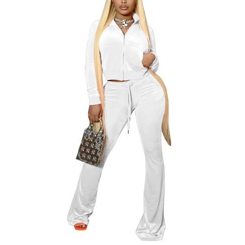 White Velvet Zipper Crop Jacket with Bell-bottomed Pants Set TQK710413-1