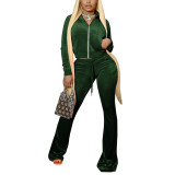 Green Velvet Zipper Crop Jacket with Bell-bottomed Pants Set TQK710413-9
