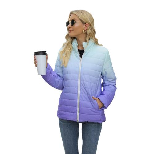 Purple Ombre Stand Collar Zipper Coat with Pocket TQK280118-8