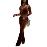 Coffee Velvet Zipper Crop Jacket with Bell-bottomed Pants Set TQK710413-15