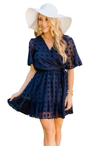 Blue Wrap V Neck Swiss Dot Mini Dress with Ruffles LC224826-5