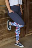 Gray Crossover High Waist Aztec Print Patchwork Yoga Leggings LC263986-11