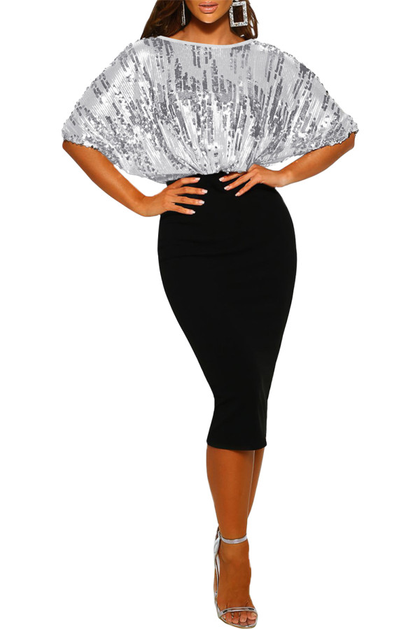 Black Sequin Batwing Top Midi Dress LC229194-2