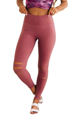 Pink Cut-out Skinny High Waist Leggings LC76434-10