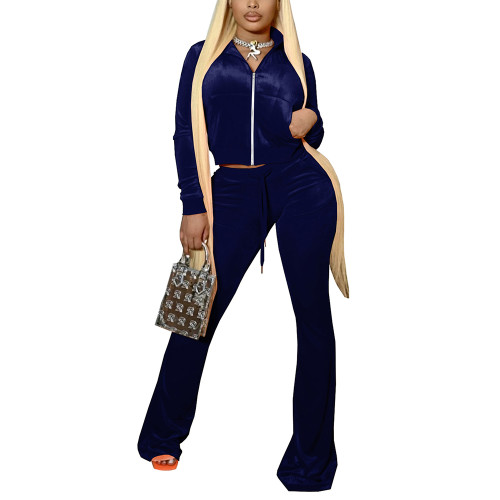 Navy Blue Velvet Zipper Crop Jacket with Bell-bottomed Pants Set TQK710413-34