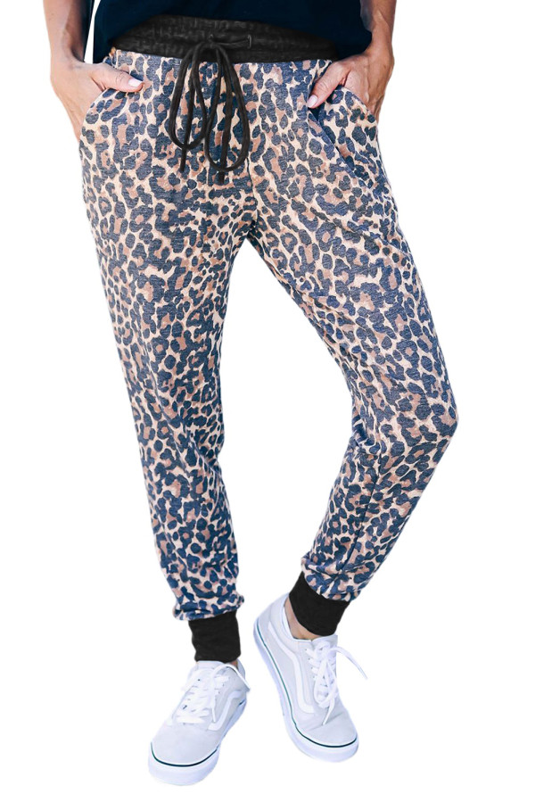 Leopard Print Drawstring Joggers with Side Pocket LC772441-20