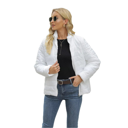 White Ombre Stand Collar Zipper Coat with Pocket TQK280118-1