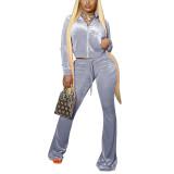 Light Gray Velvet Zipper Crop Jacket with Bell-bottomed Pants Set TQK710413-25
