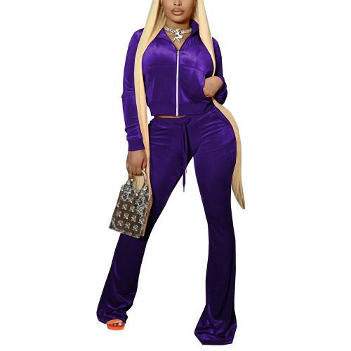 Purple Velvet Zipper Crop Jacket with Bell-bottomed Pants Set TQK710413-8
