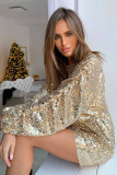 Gold Long Sleeves Sequin Mini Dress LC229576-12