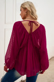 Swiss Dot Lace-up V Neck Long Sleeve Top LC2513362-6
