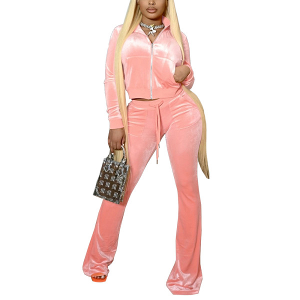 Pink Velvet Zipper Crop Jacket with Bell-bottomed Pants Set TQK710413-10