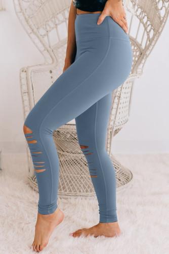 Blue Cut-out Skinny High Waist Leggings LC76434-4