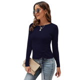 Solid Black Knitted Drawstring Long Sleeve Sweater TQK271318-2