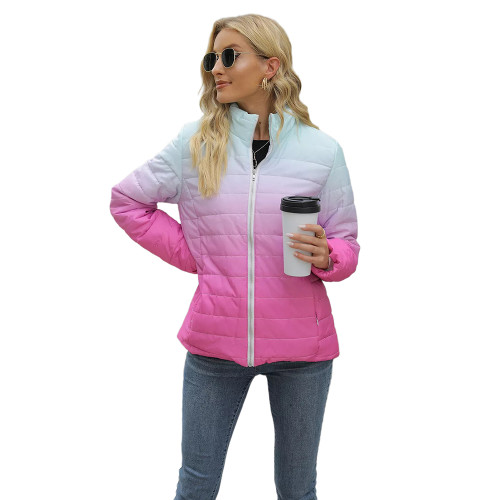 Rosy Ombre Stand Collar Zipper Coat with Pocket TQK280118-6
