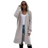 Solid Light Gray Open Front Knitted Long Cardigan TQK271242-25