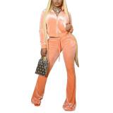 Orange Velvet Zipper Crop Jacket with Bell-bottomed Pants Set TQK710413-14