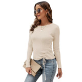 Solid Apricot Knitted Drawstring Long Sleeve Sweater TQK271318-18