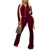 Wine Red Velvet Zipper Crop Jacket with Bell-bottomed Pants Set TQK710413-23