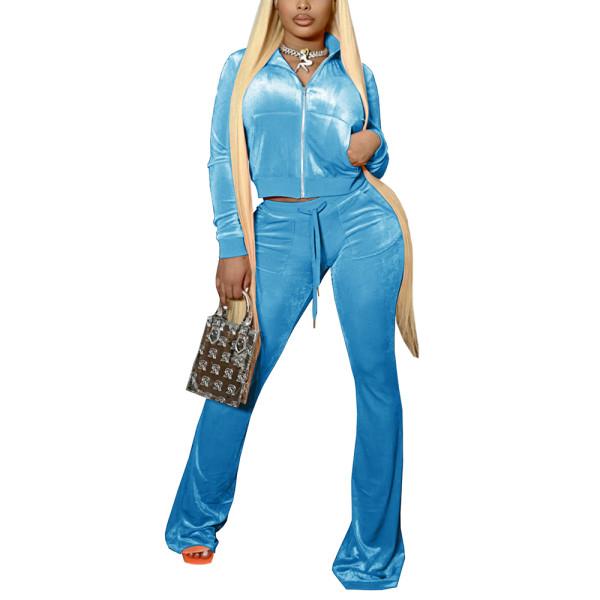 Light Blue Velvet Zipper Crop Jacket with Bell-bottomed Pants Set TQK710413-30