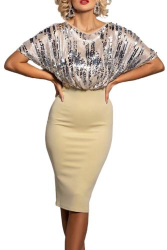 Apricot Sequin Batwing Top Midi Dress LC229194-18