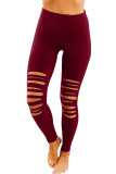 Red Cut-out Skinny High Waist Leggings LC76434-3