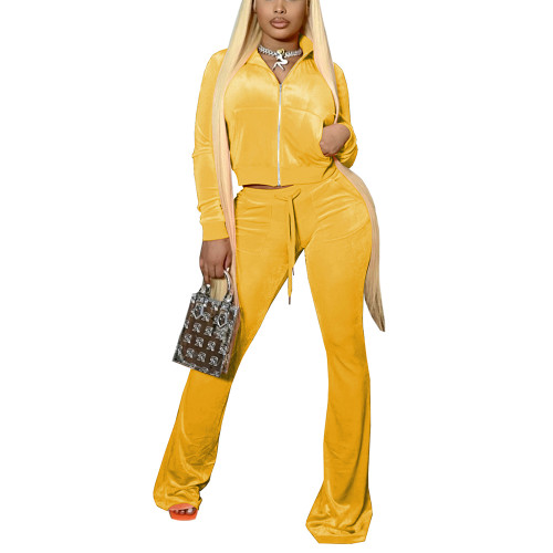 Yellow Velvet Zipper Crop Jacket with Bell-bottomed Pants Set TQK710413-7