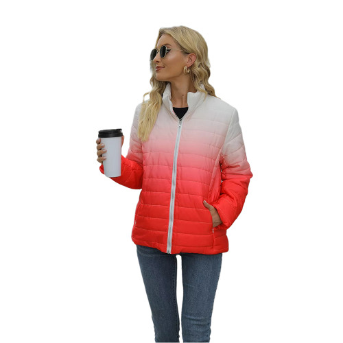Red Ombre Stand Collar Zipper Coat with Pocket TQK280118-3