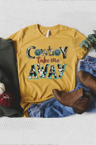 Cowboy Take Me Away Artistic Letters Graphic Tee LC25212235-7